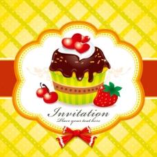矢量精致草莓蛋糕背景
