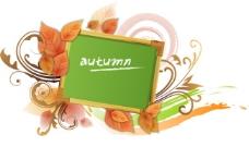 矢量秋天落叶写字板背景