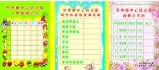幼儿园食谱 伙食收支 收费版面图片