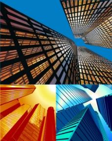 大楼仰视图矢量素材