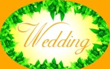 婚慶 橢圓 綠葉圖片