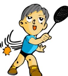 羽毛球 卡通运动人物图片图片