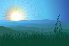 矢量素材太阳日出光芒背景