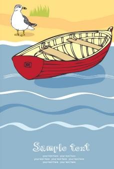 海边小船矢量素材