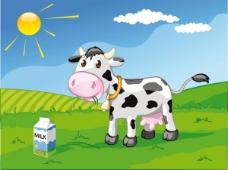 可爱奶牛矢量素材