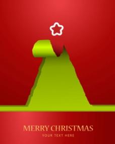 时尚创意撕痕圣诞树背景矢量素材
