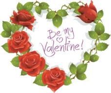 矢量精美玫瑰爱心边框
