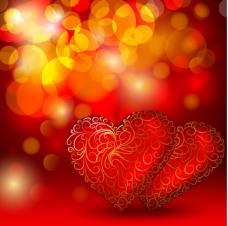 矢量情人节透光红心潮流背景