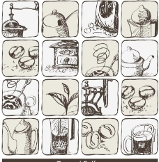 素描咖啡茶水图片