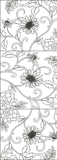 各种花卉简笔画边框