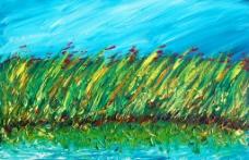 油画 蓝天花丛图片