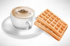 一杯咖啡和面包片图片