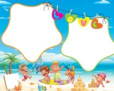 海滩儿童模板图片