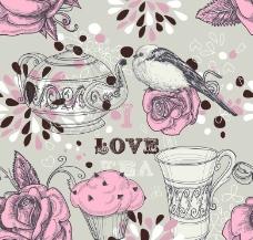 浪漫玫瑰小鸟 茶壶图片