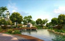 城市公园小溪效果图图片