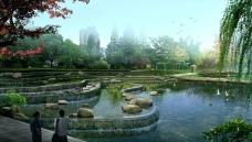 城市小池塘景观公园