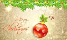 欧式花纹 彩灯圣诞背景图片