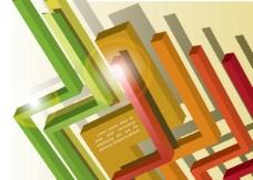 矢量彩色不规则线条立体背景设计