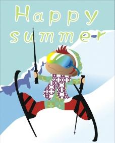 滑雪场夏日宣传海报图片