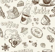 素描咖啡甜点图片