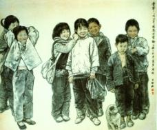王盛烈中國畫作品《童年》圖片