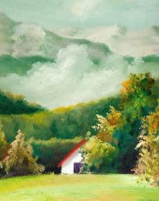 房屋风景油画图片