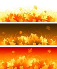 矢量秋天绚丽枫叶背景素材