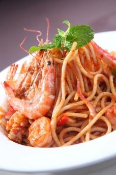 茄汁海鲜意大利面图片