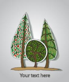 松树标签背景矢量素材