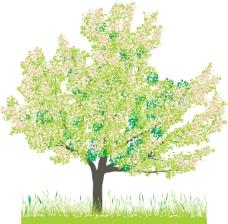 矢量绿树小草背景素材
