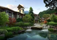 花园洋房瀑布喷泉