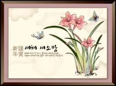 矢量新年国画花朵素材背景