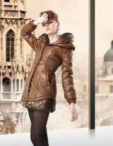 服装模特褐色服饰图片