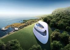 海边高山抽象科幻建筑五星级酒店