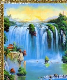 瀑布装饰画图片