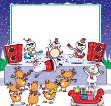 卡通圣诞音乐会 圣诞背景图片
