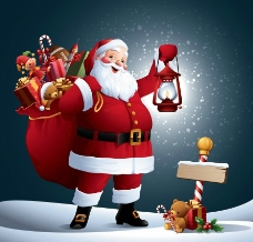 背着礼品袋的圣诞老人图片