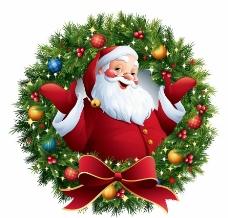 圣诞老人 圣诞花环图片