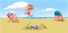 矢量卡通儿童沙滩背景素材