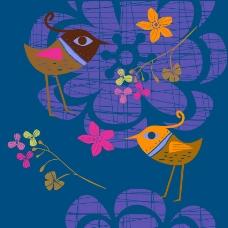 矢量彩绘小鸟背景素材