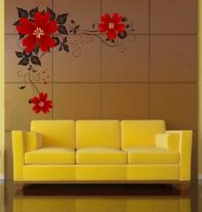沙发背景花纹图片