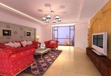 欧式客厅 家装模型图片