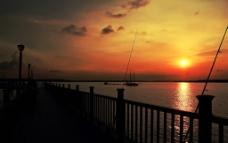 碼頭落日圖片