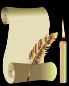 复古蜡烛纸张背景矢量素材