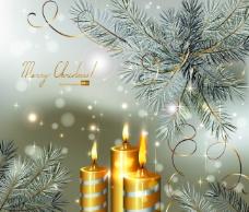 矢量梦幻圣诞节光斑松枝背景